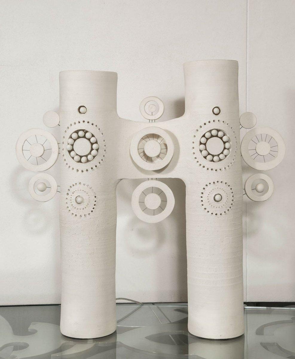 keramik tischlampe mit zwei leuchten von georges pelletier. Black Bedroom Furniture Sets. Home Design Ideas