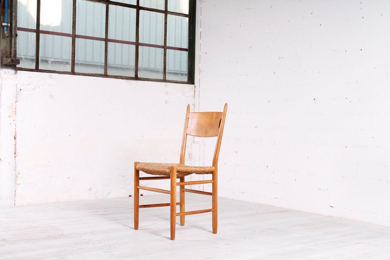 skandinavische st hle aus eichenholz strohgeflecht 1950er 6er set bei pamono kaufen. Black Bedroom Furniture Sets. Home Design Ideas