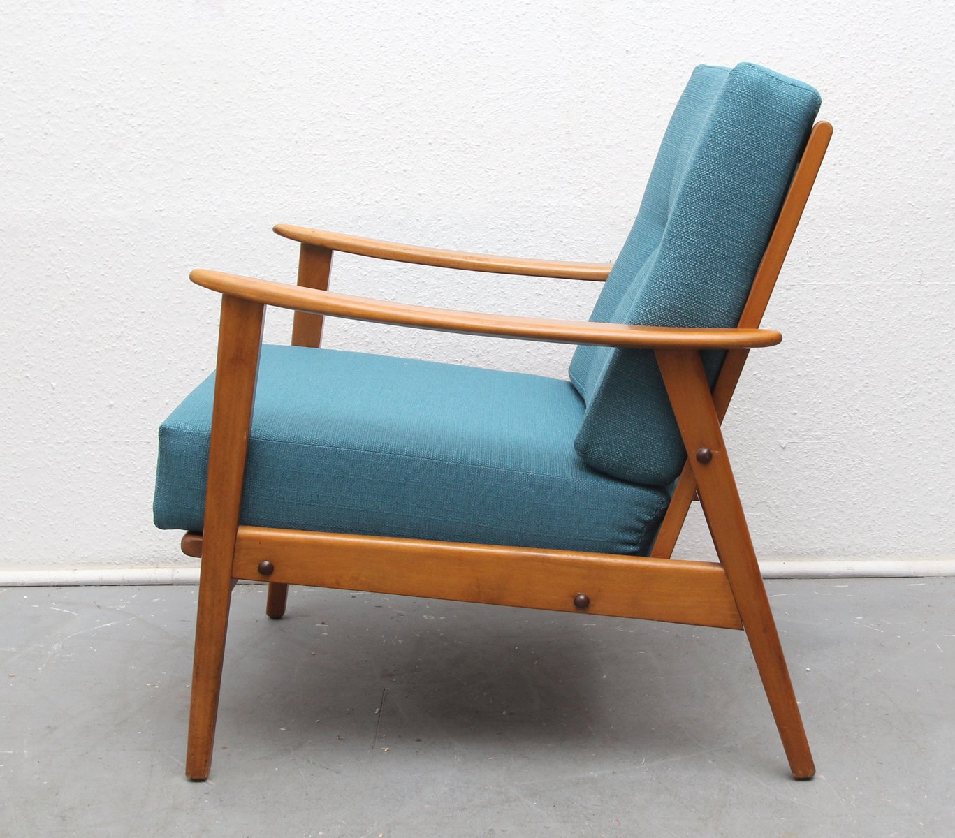 Mid Century Armchair In Dark Turquoise, 1950s For Sale At Pamono
