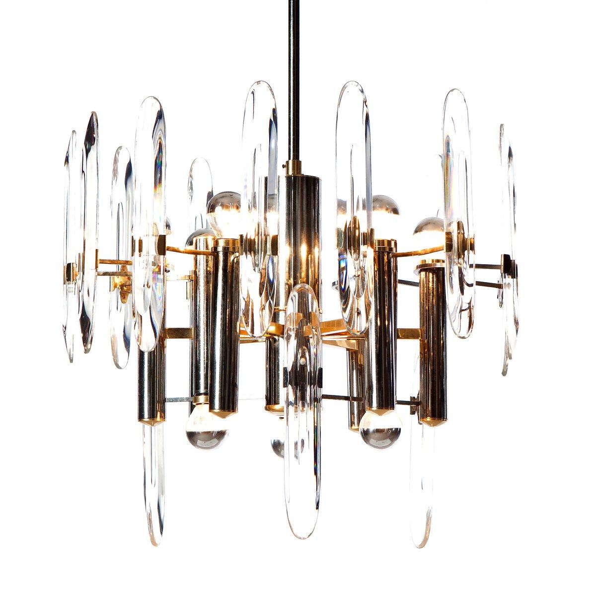 Kronleuchter Aus Chrom, Messing U0026 Kristallglas Mit 9 Leuchten Von Gaetano  Sciolari, 1960er