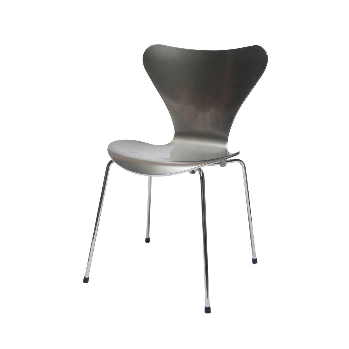 silberfarbener special edition 3107 stuhl von arne jacobsen f r fritz hansen bei pamono kaufen. Black Bedroom Furniture Sets. Home Design Ideas