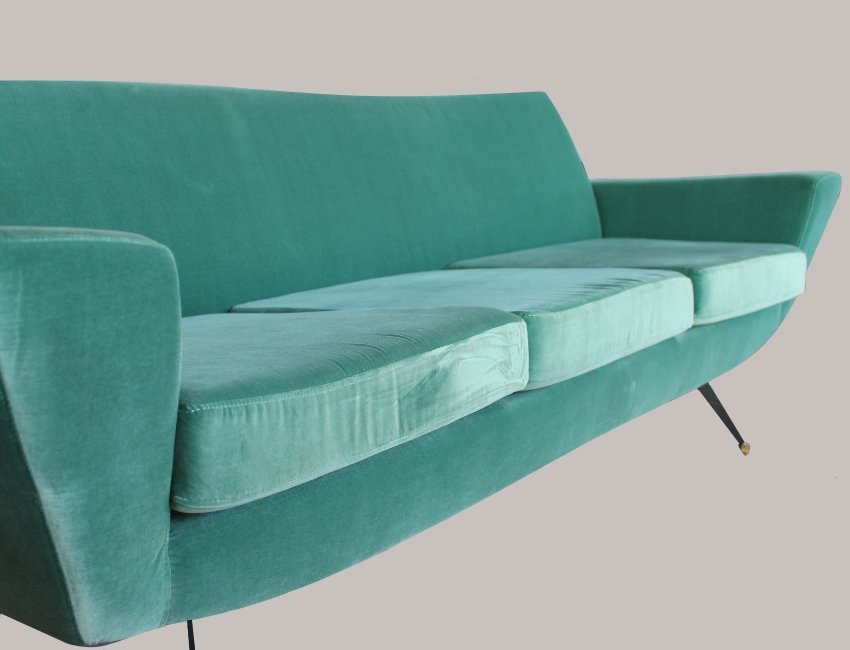 Lovely Mid Century Italian Aquamarine Velvet Sofa, 1960s