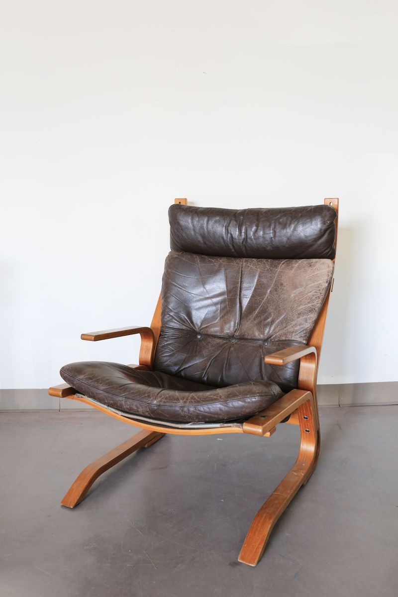 Leather Bentwood Armchair By Oddvin Rykken 1970 For Sale
