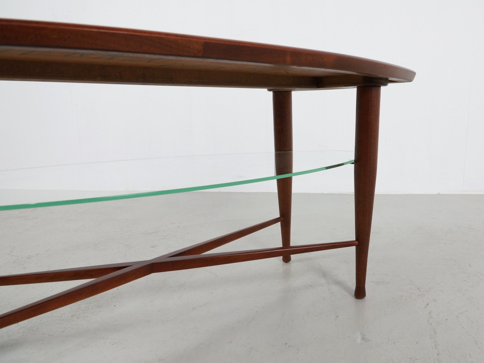 Vintage teak coffee table with glass magazine shelf for for Coffee table with shelf underneath