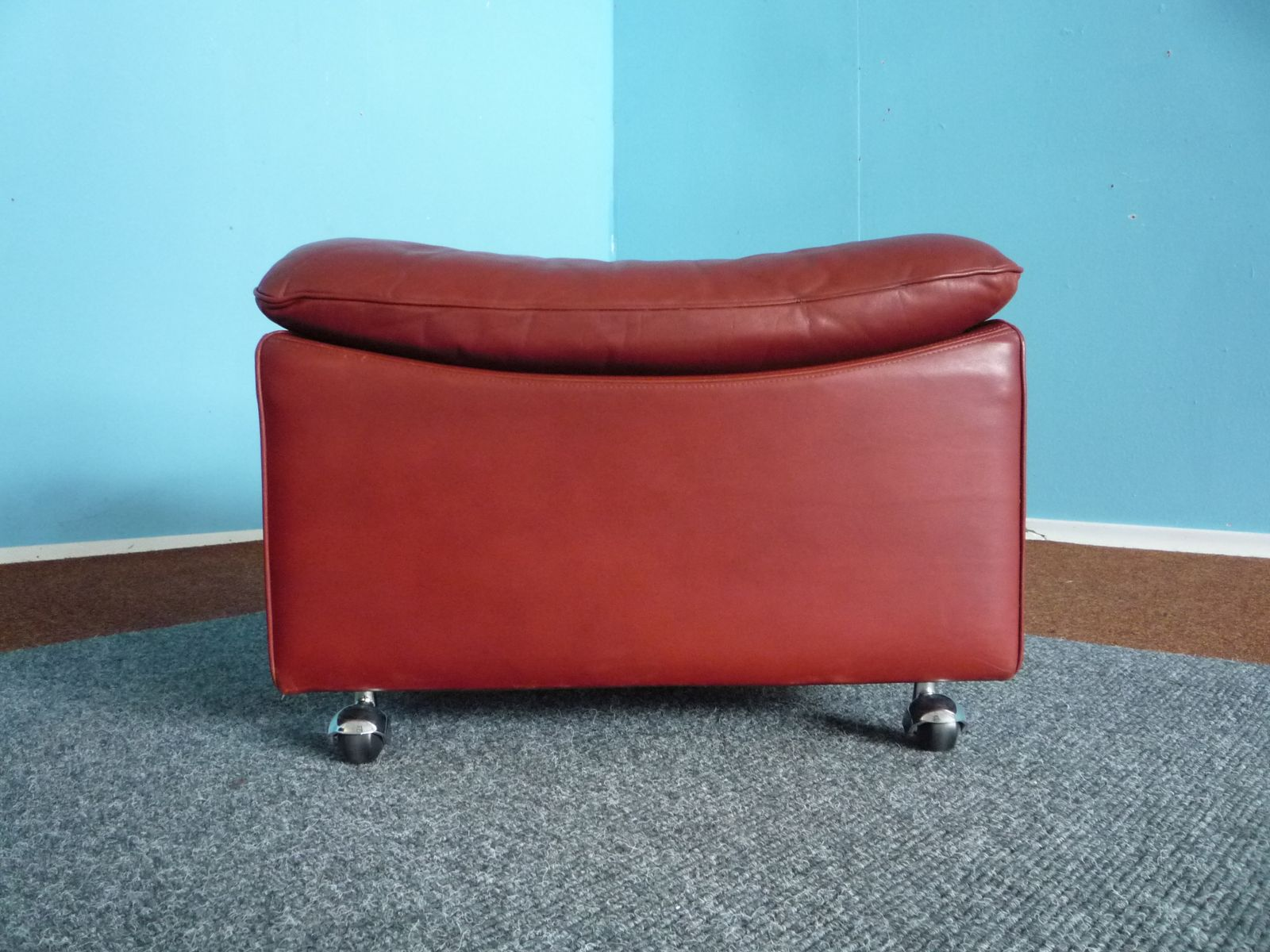 Leather Winged Armchair U0026 Ottoman From Kill International, 1970s For Sale  At Pamono
