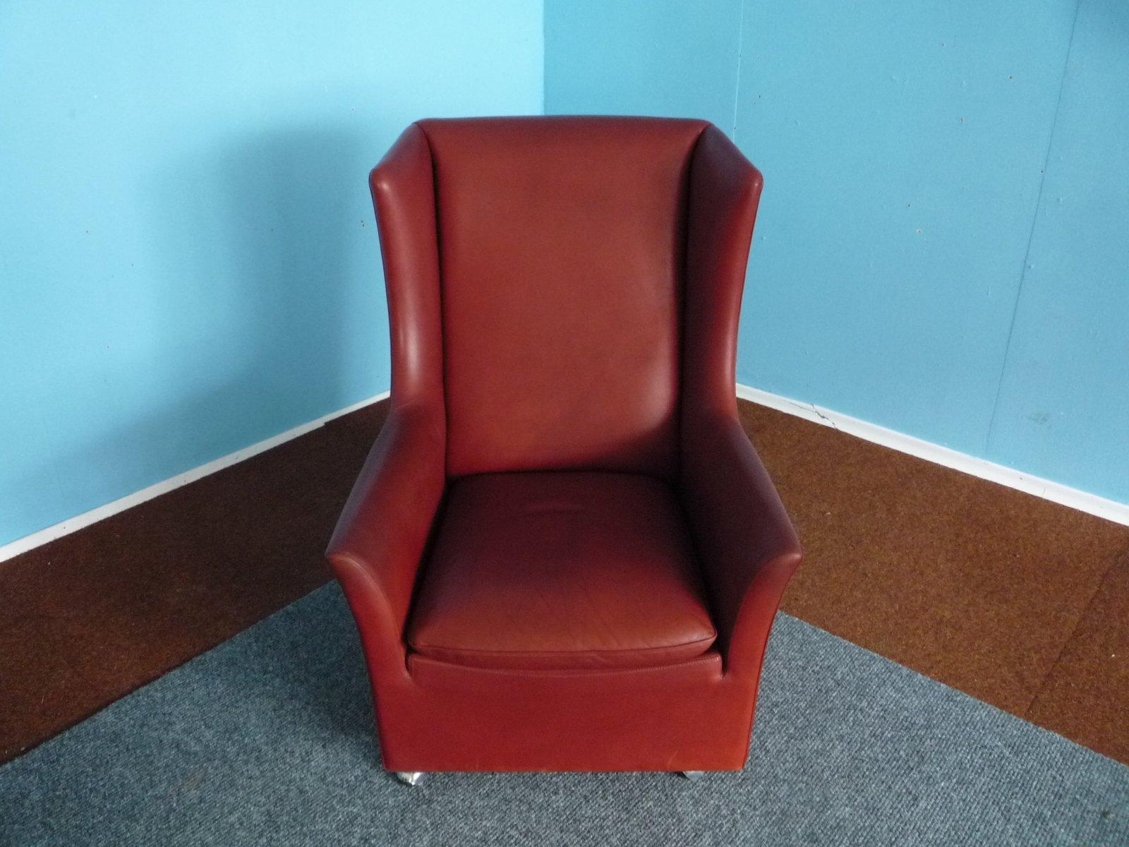 leder ohrensessel mit fu hocker von kill international 1970er bei pamono kaufen. Black Bedroom Furniture Sets. Home Design Ideas