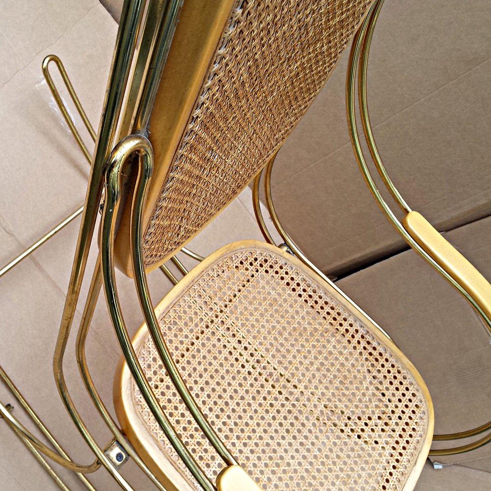 Vintage schaukelstuhl aus goldenem metall und schilfrohr for Metall schaukelstuhl