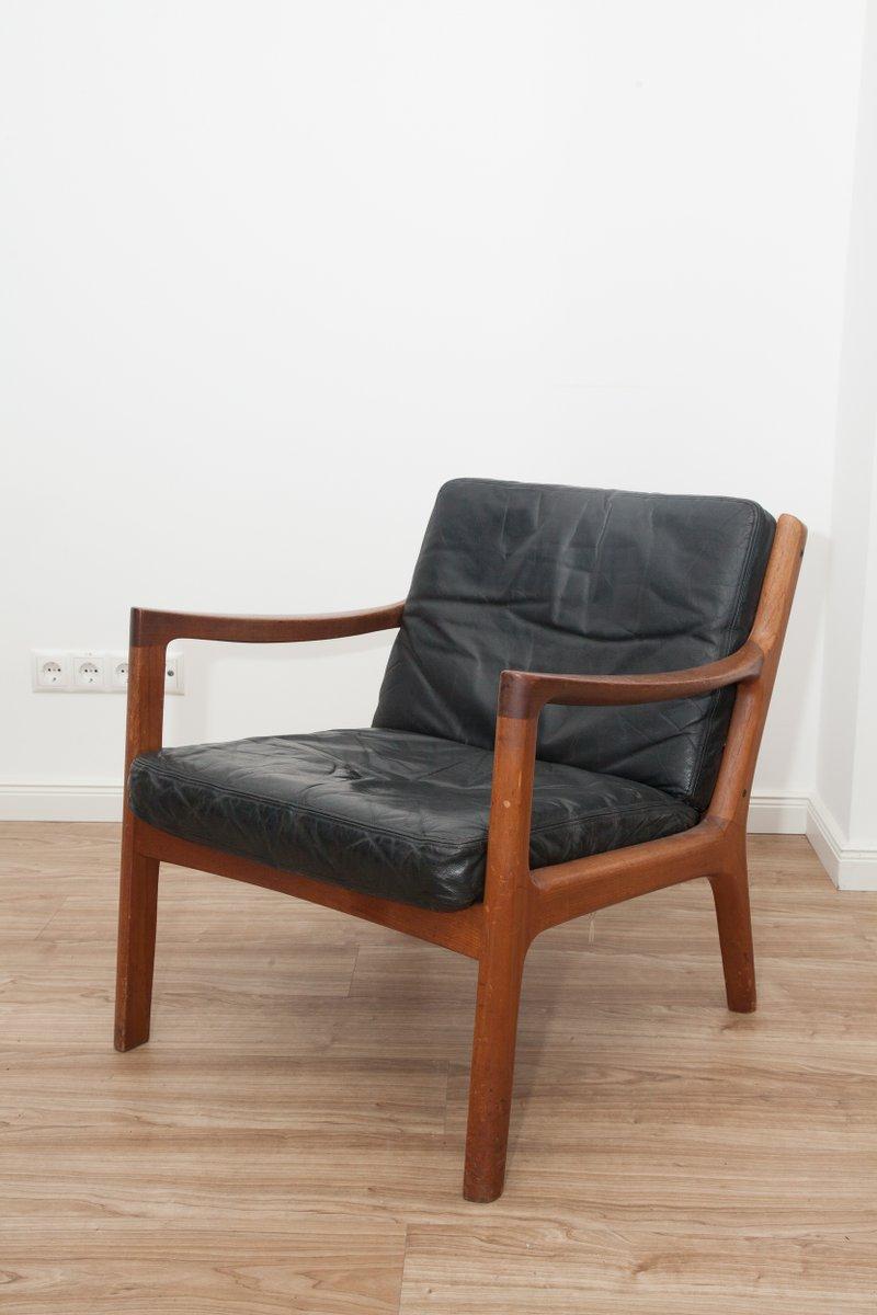 Black leather teak 3 seater sofa armchair by ole for Sofa armchair