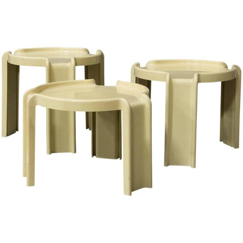 Off white plastic nesting tables by giotto stoppino for kartell off white plastic nesting tables by giotto stoppino for kartell 1970s watchthetrailerfo