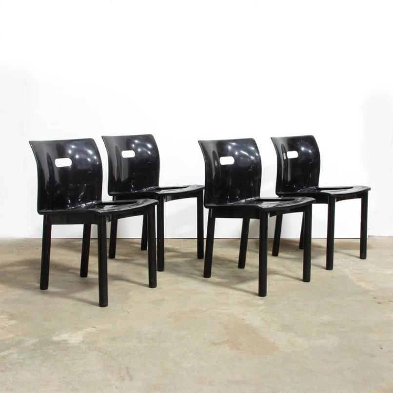 Black Plastic Stacking Chairs #27 - 4870 Black Plastic Stacking Chair By Anna Castelli Ferrieri For Kartell,  1990s