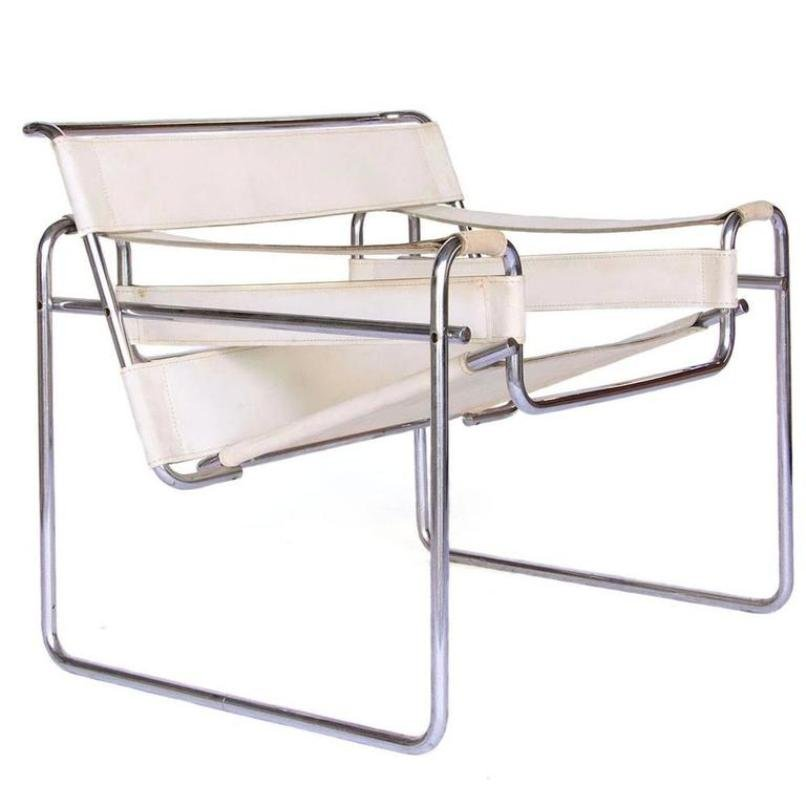 Great Vintage White Leather Wassily Chair By Marcel Breuer For Knoll