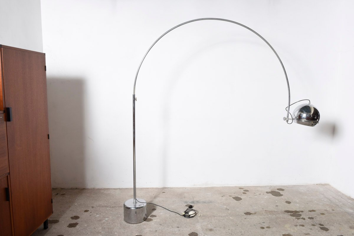 MidCentury Chromed Metal Arc Floor Lamp from Gepo 1960s for sale