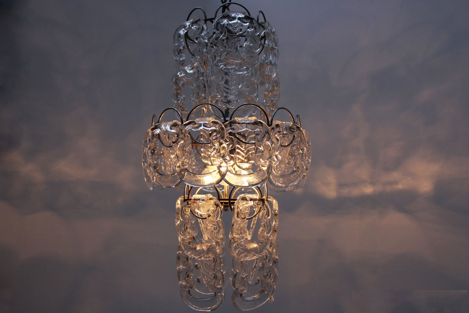 Mid century italian glass chain chandelier by angelo mangiarotti 125000 mozeypictures Gallery