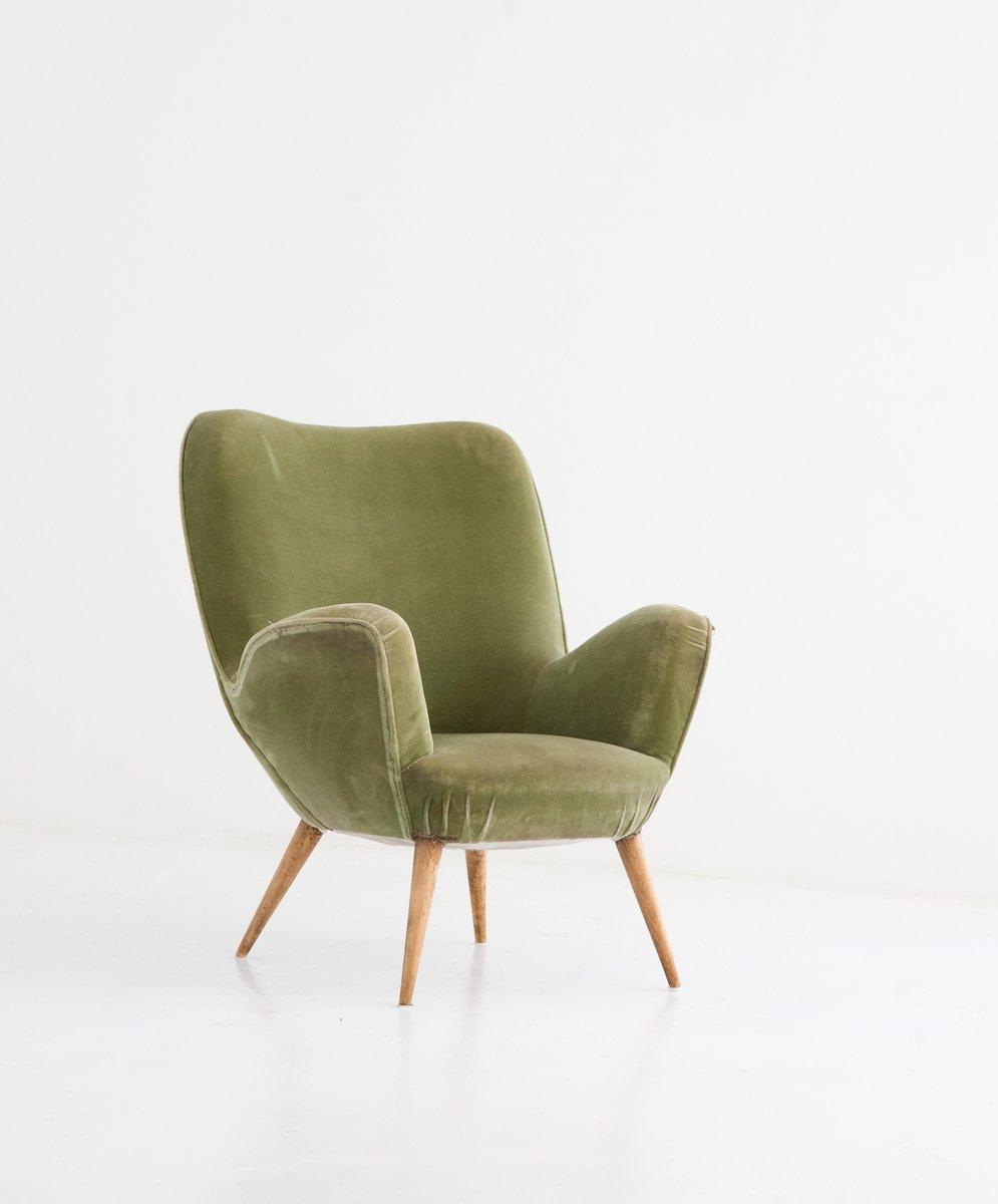 italienischer mid century sessel mit samtbezug 1950er bei pamono kaufen. Black Bedroom Furniture Sets. Home Design Ideas