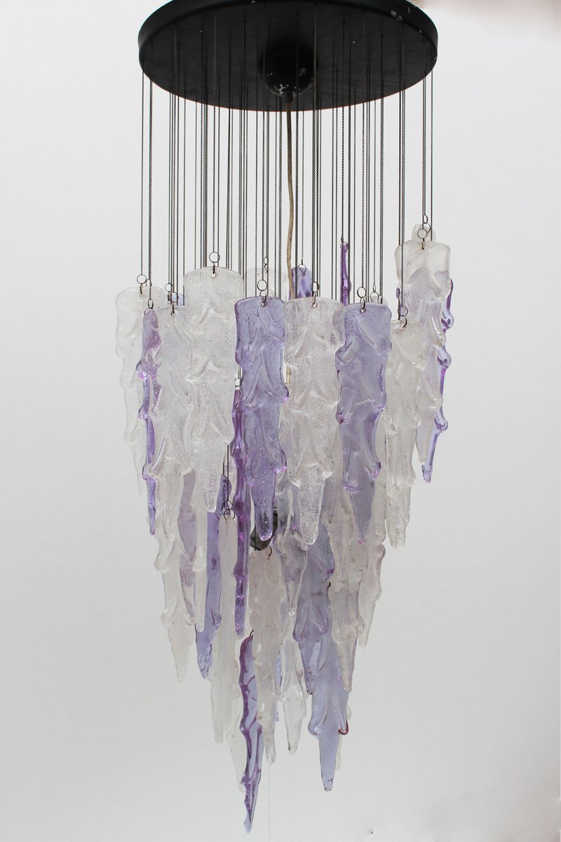 Mid century italian purple and white icicle chandelier from mid century italian purple and white icicle chandelier from mazzega 1960s mozeypictures Images