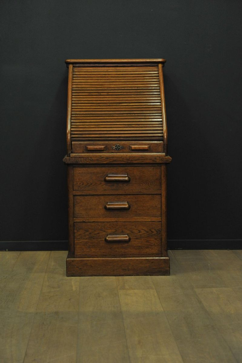 Edwardian Tambour Secretaire in Oak from Harris Lebus for sale at ...