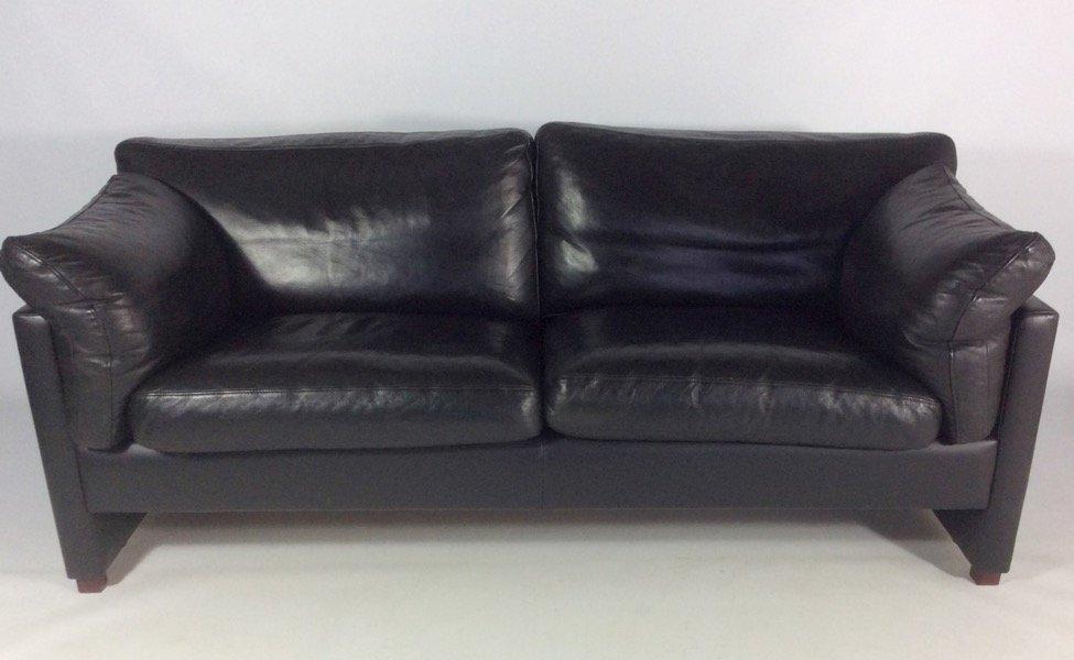 Schwarzes Ledersofa dänisches sofa aus schwarzem leder 1970er bei pamono kaufen