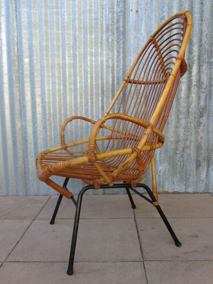 vintage rattan stuhl mit hoher r ckenlehne bei pamono kaufen. Black Bedroom Furniture Sets. Home Design Ideas