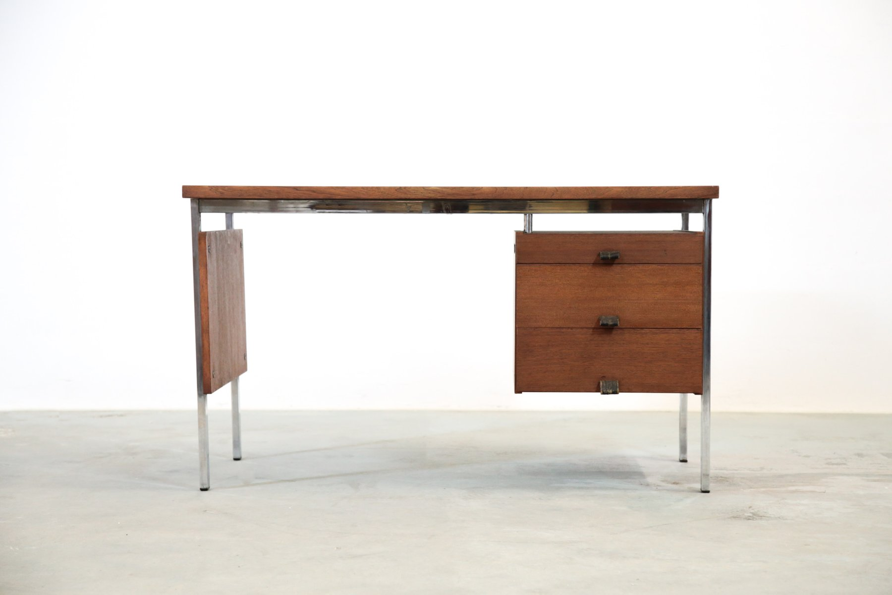 vintage teak chrom schreibtisch 1960er bei pamono kaufen. Black Bedroom Furniture Sets. Home Design Ideas