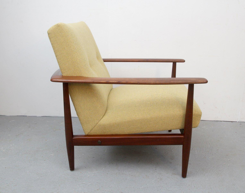 fauteuil vintage en teck avec tapisserie jaune 1960s en vente sur pamono. Black Bedroom Furniture Sets. Home Design Ideas