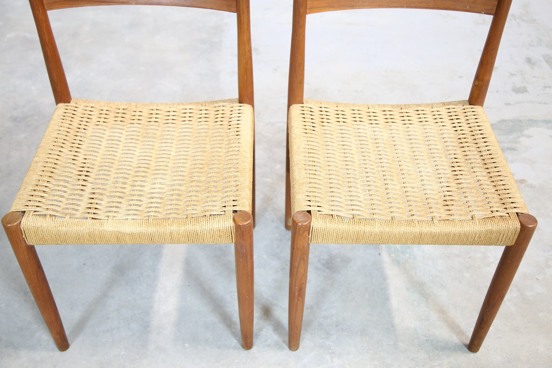 Superb Danish Teak Chairs With Woven Seats, 1960s, Set Of 2