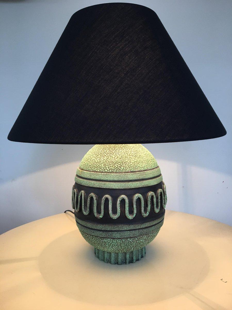 Lampada da tavolo Mid-Century in ceramica verde in vendita su Pamono