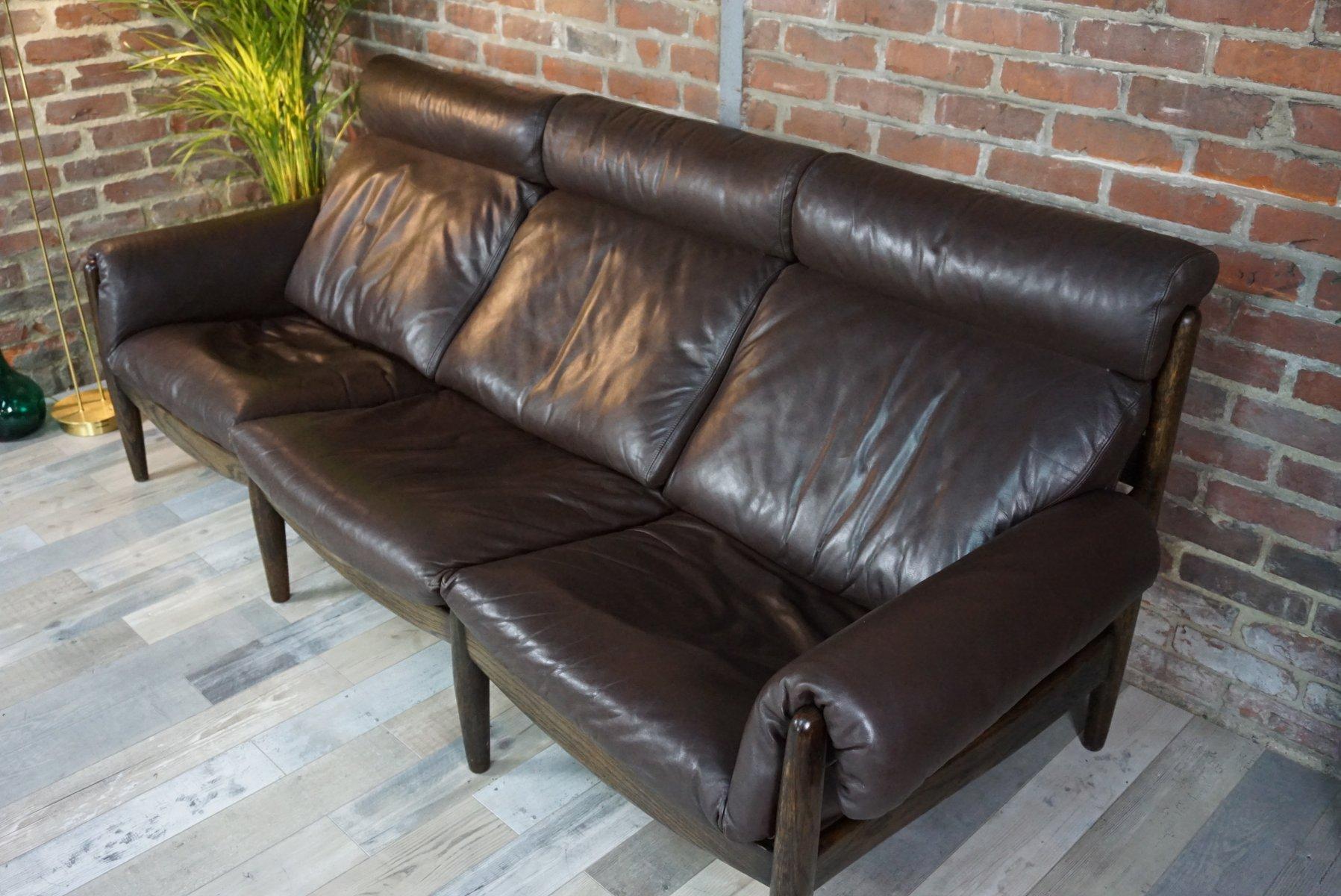 d nisches 3 sitzer ledersofa aus eiche bei pamono kaufen. Black Bedroom Furniture Sets. Home Design Ideas