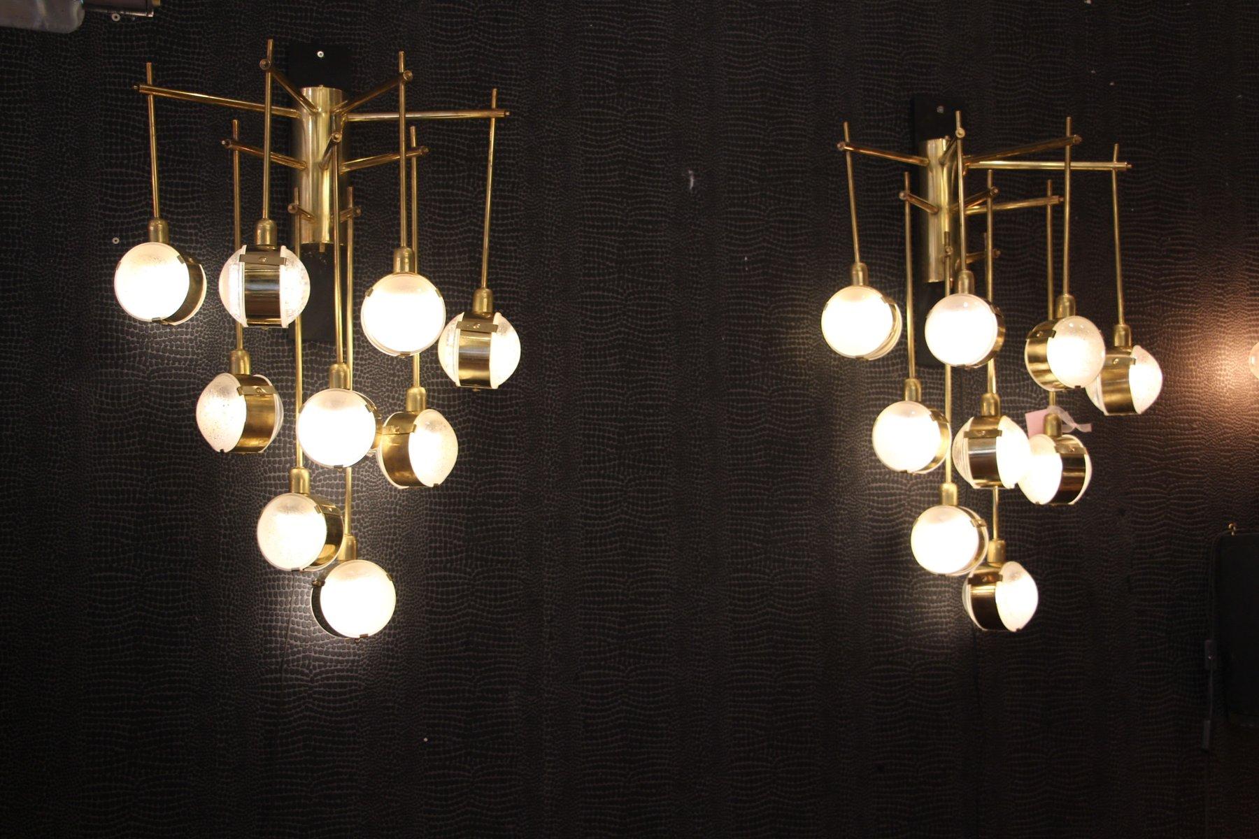 Mid Century Italian Modern Long Brass & Glass Chandeliers 1970s