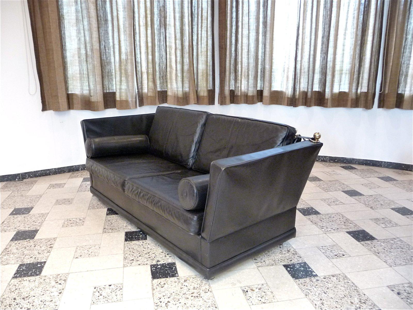 knole zweisitzer ledersofa 1960er bei pamono kaufen. Black Bedroom Furniture Sets. Home Design Ideas