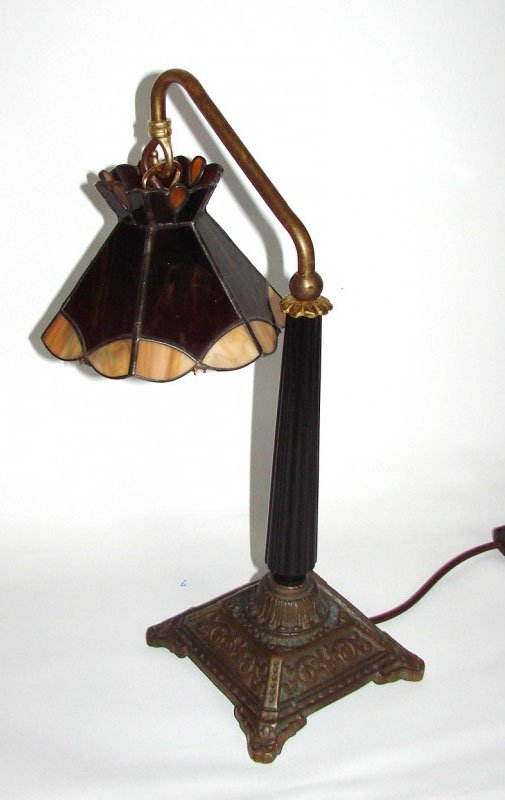 Amazing Vintage Lamp With Stained Glass Shade For Sale At Pamono
