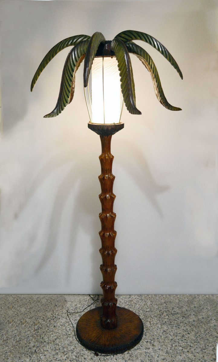 Wooden palm tree floor lamp 1950s for sale at pamono wooden palm tree floor lamp 1950s aloadofball