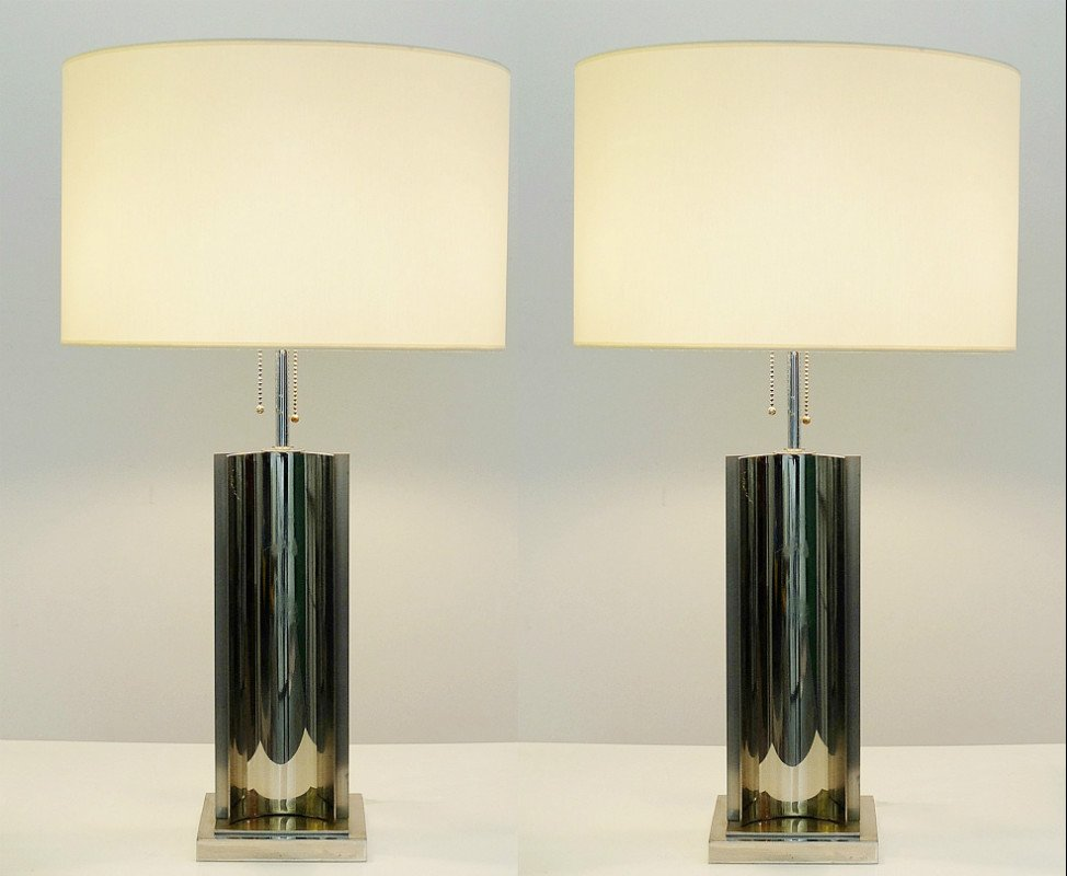 Vintage Chrome And Brass Table Lamps, Set Of 2 For Sale At Pamono