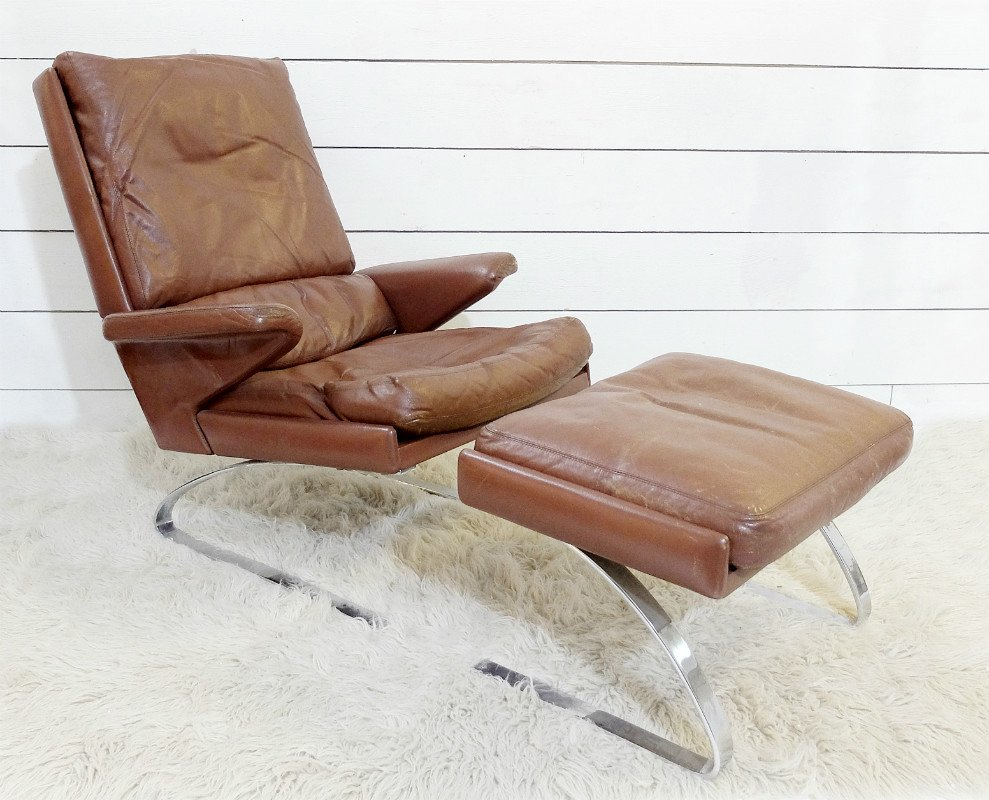 Swing Lounge Chair And Ottoman By R. Adolf U0026 H. J. Schropfer