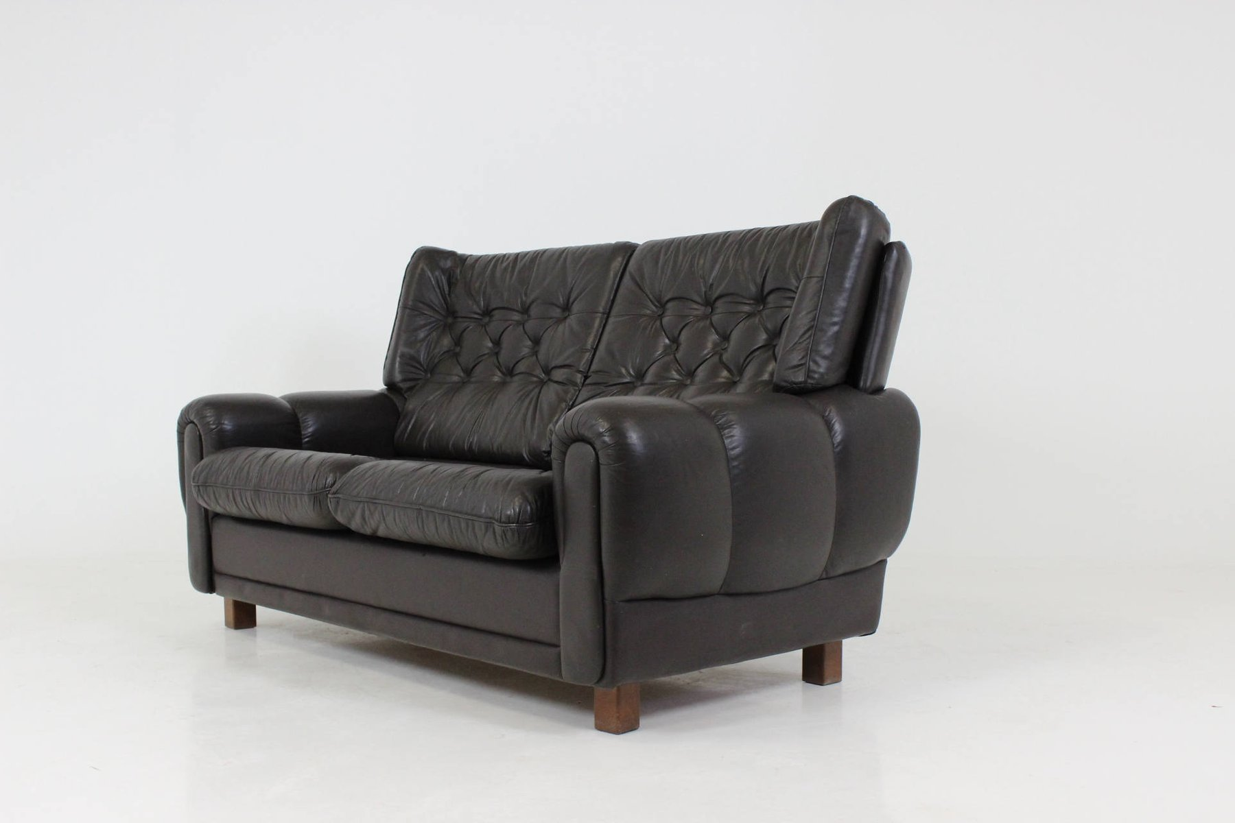 Mid Century Black Leather Sofa