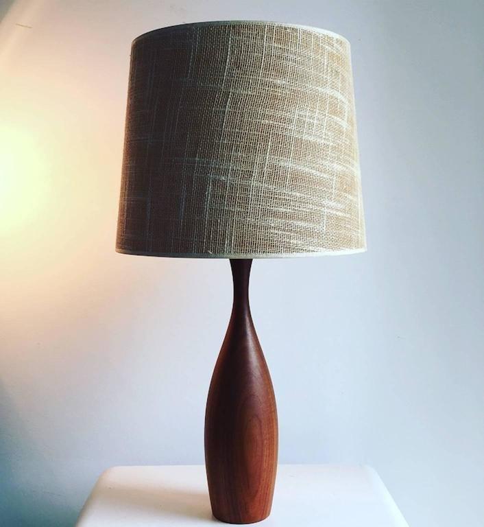 Mid century danish teak table lamp with original jute shade for mid century danish teak table lamp with original jute shade aloadofball Images