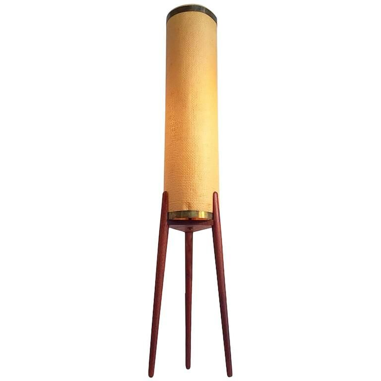 Danish mid century teak tripod floor lamp with original for Tripod spotlight floor lamp in teak wood