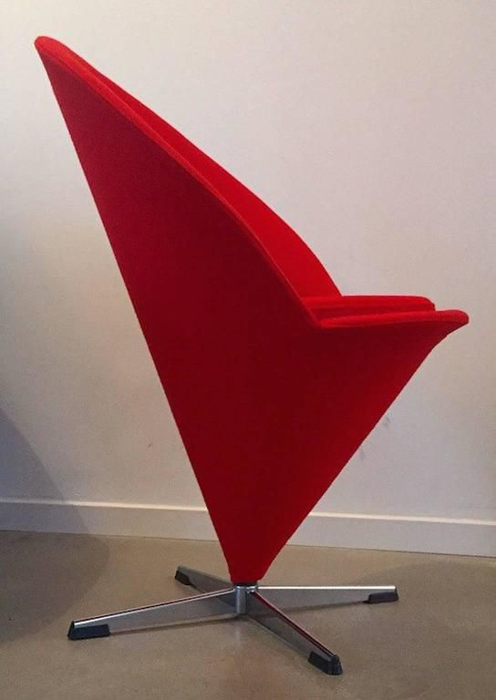 Mid Century Danish K Series Cone Chair With Red Wool Fabric By Verner Panton  For Gebr. Nehl