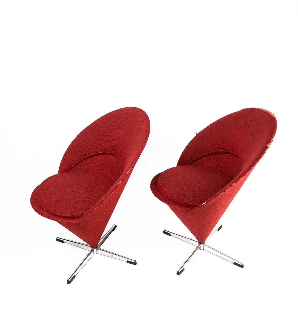 k1 cone sessel von verner panton f r plus linje 1958 2er set bei pamono kaufen. Black Bedroom Furniture Sets. Home Design Ideas