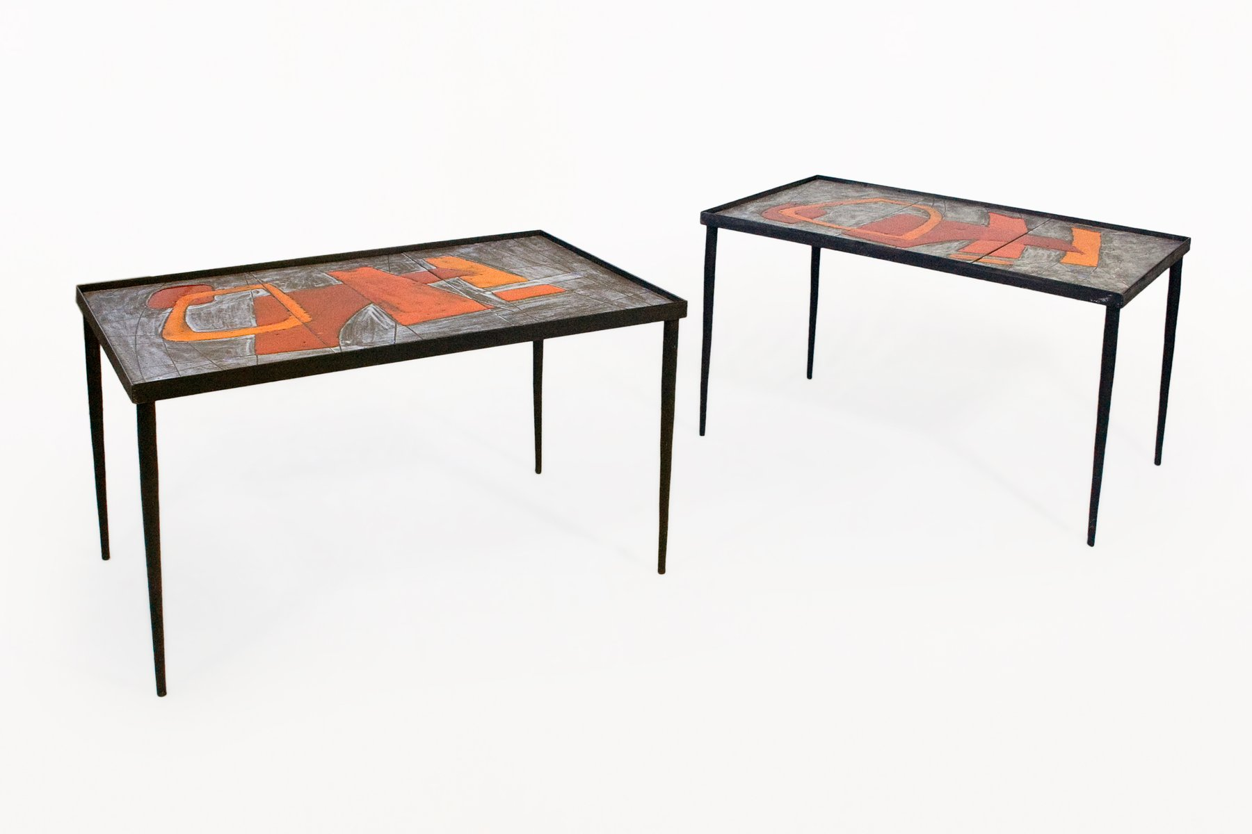 Ceramic Coffee Tables by Robert and Jean Cloutier 1960s Set of 2