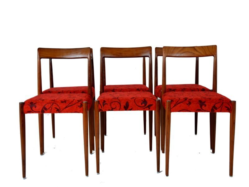 Vintage Red Dining Chairs Set Of 6