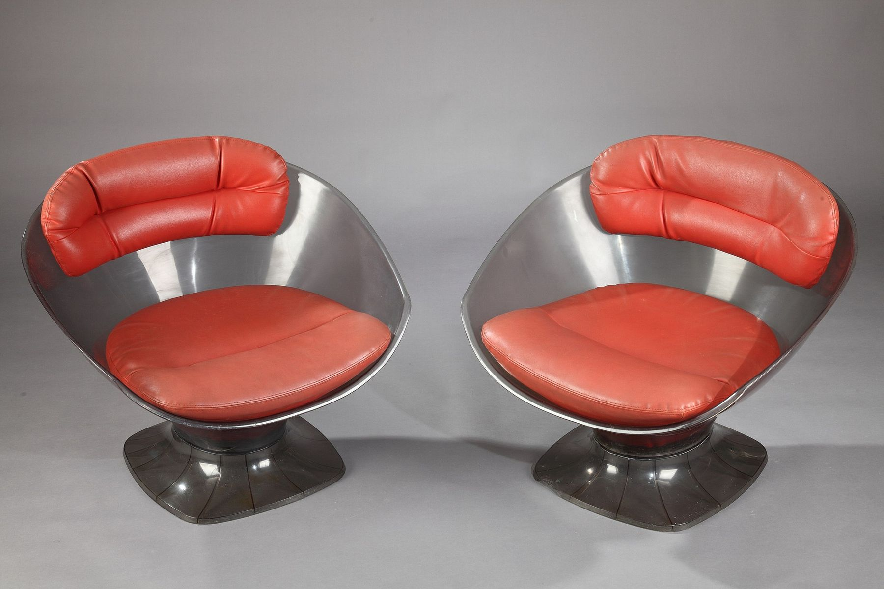 Vintage Lucite and Leather Armchairs by Raphael Raffel Set of 2
