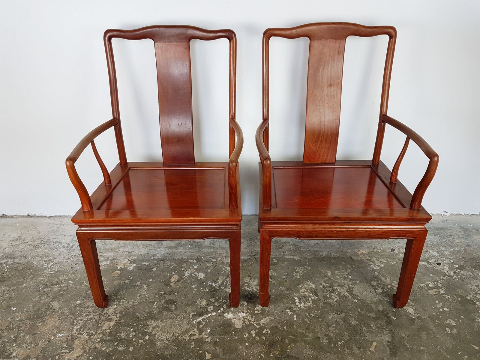 Vintage Chinese Rosewood Desk Chairs Set Of 2 For Sale At