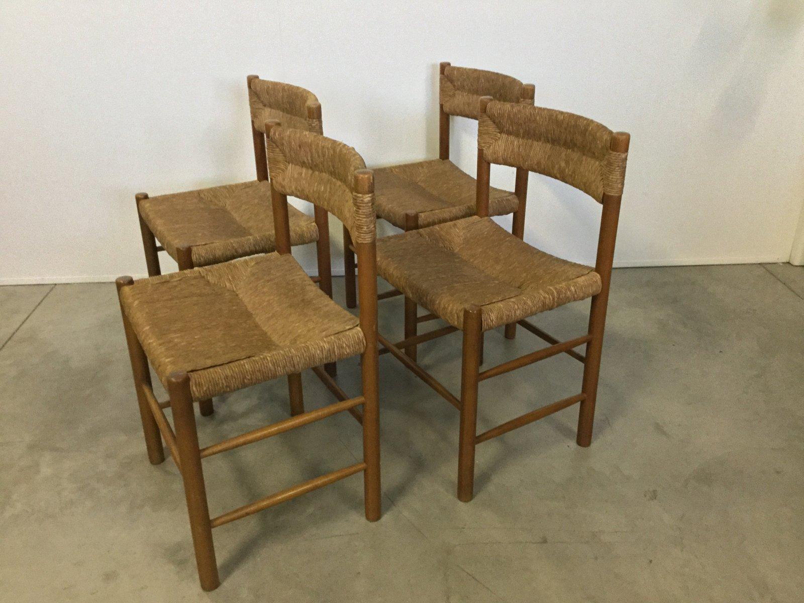 chaises vintage en paille et en pin par robert sentou set de 4 en vente sur pamono. Black Bedroom Furniture Sets. Home Design Ideas
