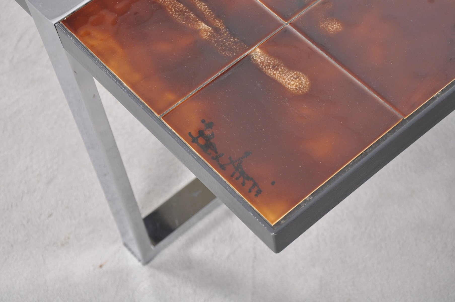 Coffee Table with Ceramic Tile Top by Juliette Belarti 1960s for