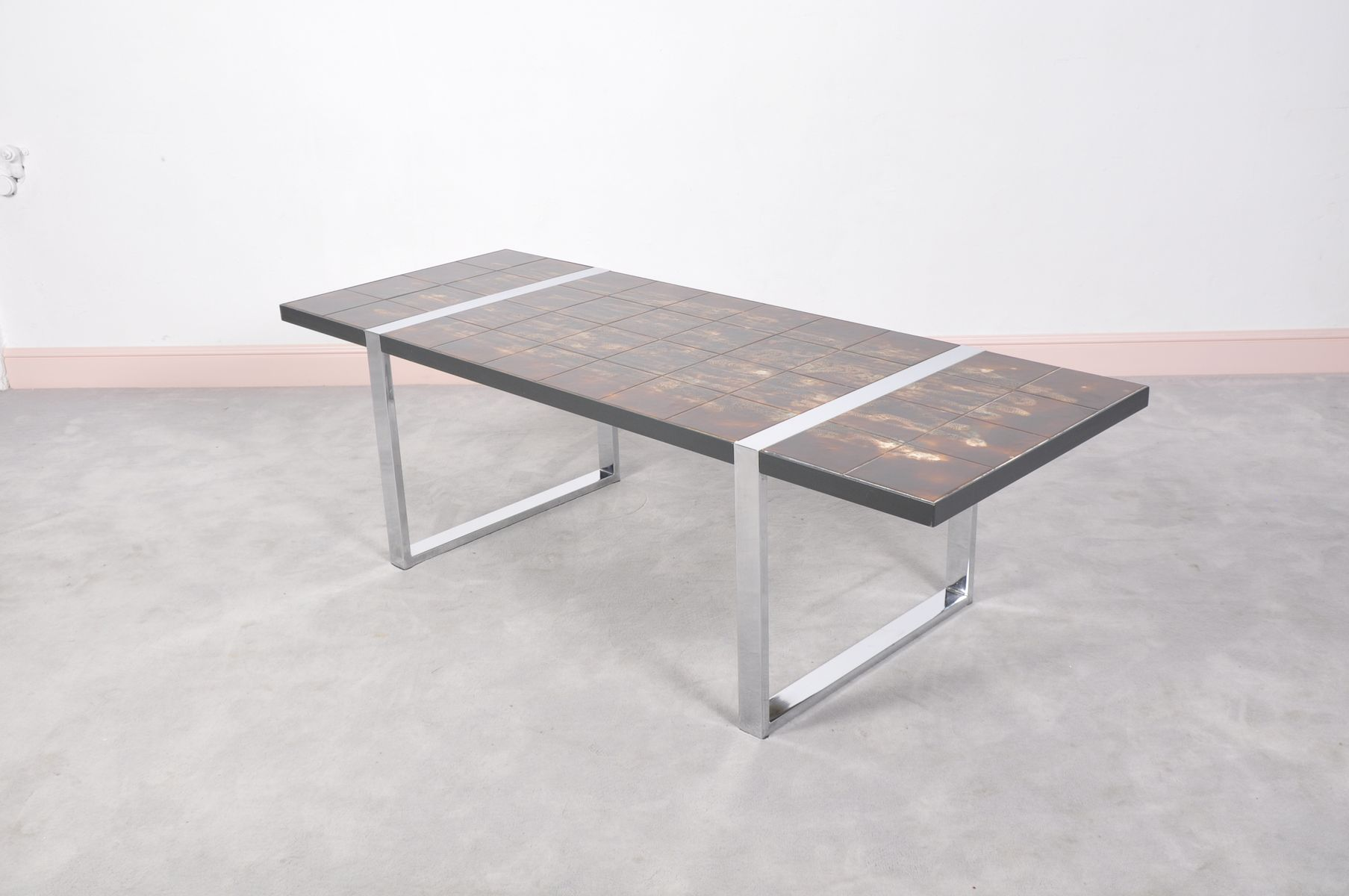 Coffee Table With Ceramic Tile Top By Juliette Belarti 1960s For Sale At Pamono