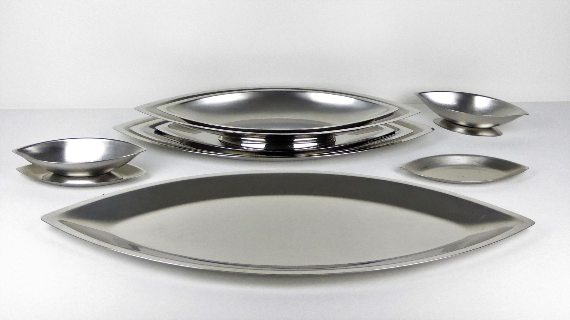 Price per set & Cosmos Stainless Steel Dishes by Guy Degrenne 1970s Set of 10 for ...