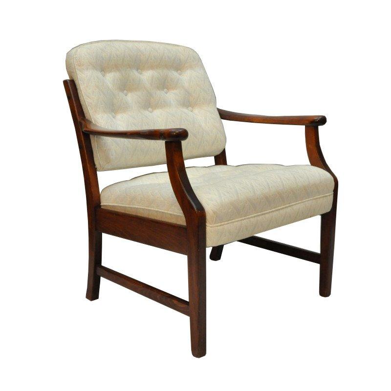 d nischer teak stuhl mit beigefarbenem stoff 1960er bei. Black Bedroom Furniture Sets. Home Design Ideas