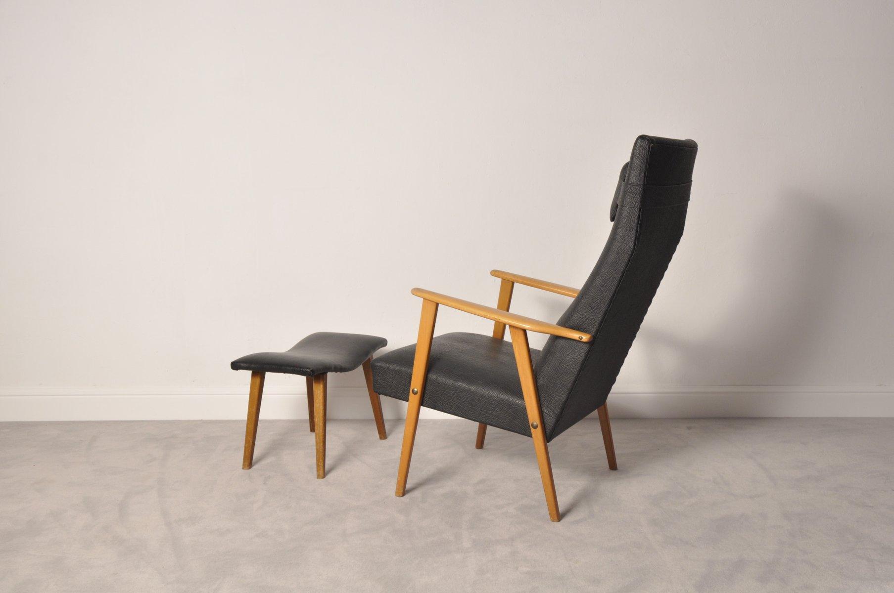 Mid century modern high back chair and ottoman 1950s for sale at pamono - Mid century modern chair and ottoman ...