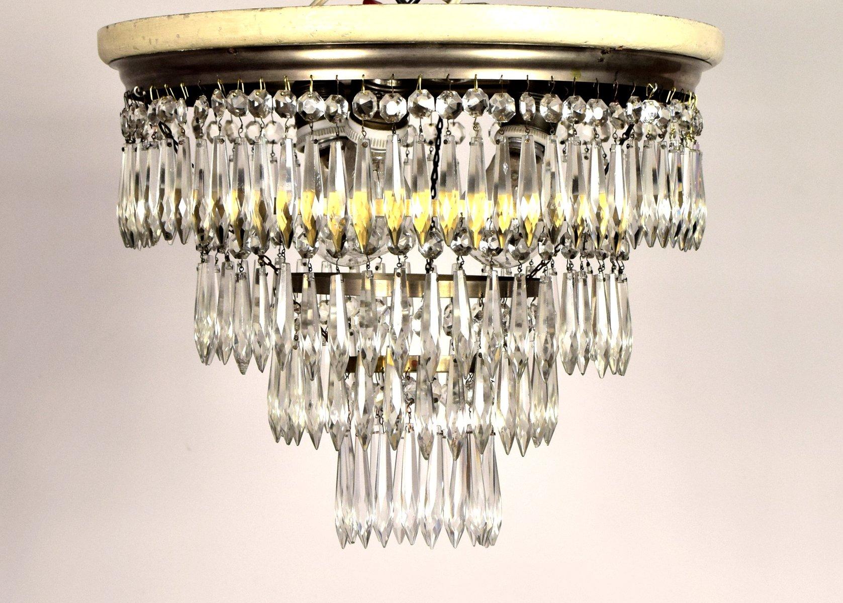 jugendstil deckenlampe mit kristallprismen bei pamono kaufen. Black Bedroom Furniture Sets. Home Design Ideas
