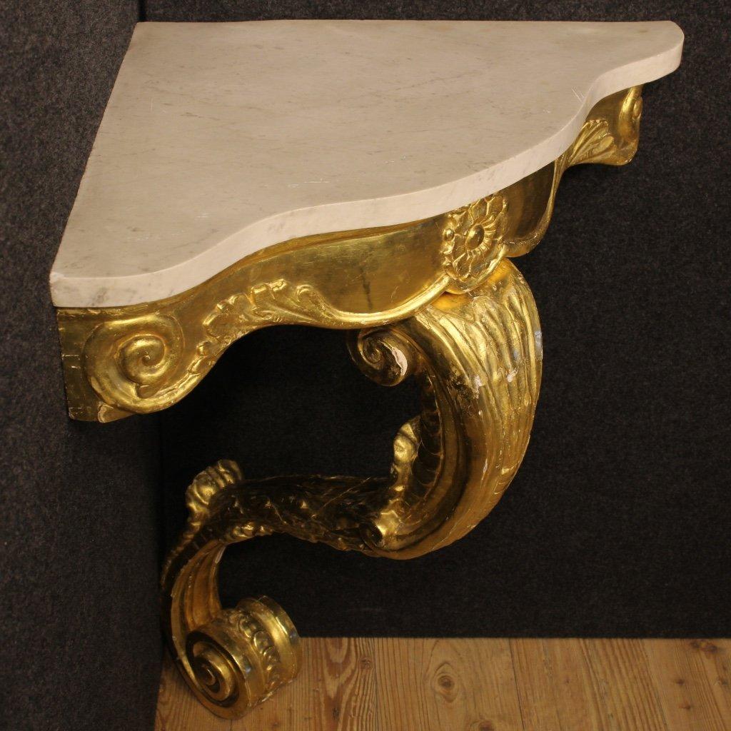 italienischer konsolentisch aus vergoldetem holz mit marmor tischplatte 1950er bei pamono kaufen. Black Bedroom Furniture Sets. Home Design Ideas